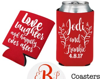 Custom Printable Can Cooler Design, Custom Napkins, Coasters, Wedding Invitations, Shot Glasses, Plastic Cups, Favor Tags, S'mores Kits