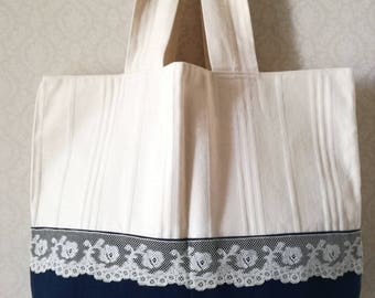 Bag canvas and lace, tote/Beach style