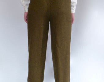 50% Off! 1980s Black and Tan Houndstooth High-Waisted Wool Pants