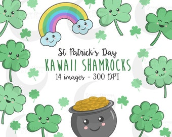 Kawaii Shamrocks - Cute St Patrick's Day Clovers Clipart Set - Commercial Use