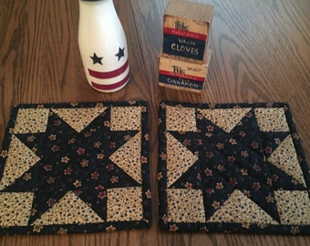 Pot Holders/Kitchen/Hot Pads/Handmade/Quilted/Primitive/Star/Country Decor Item #168