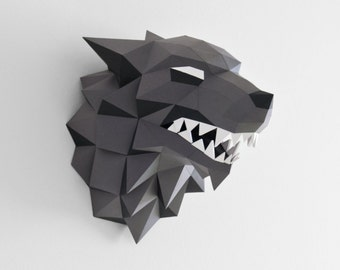 "The Direwolf - lowpoly Papercraft - Winter is coming - ""Game of Thrones"" DIY"