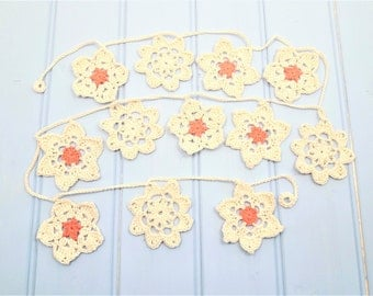 Crochet flower garland, boho home decor, flower bunting