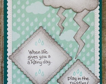 Rainy day card, handmade greeting card,  just because cards, thinking of you cards, feel better card, pick me up card, encouragement card