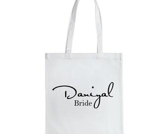 BridesmaidTote, Bride Bag, bridalTote, Bridesmaid Bag, Personalized Tote, Personalized Name Tote, Wedding Day Tote, gift