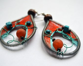 Inspirational/ her/ Thread earrings/ Peruvian jewelry/ Colorful earrings/ Native american jewelry/ Contemporary earrings/ Peruvian earrings