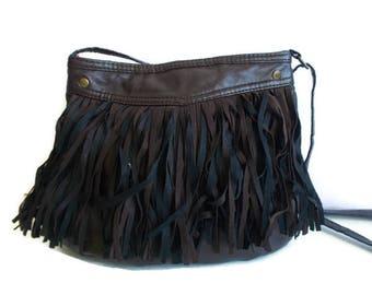 Vintage Fringed bag, Bohemian bag, Womens handbag, Hippie bag, Faux leather bag, Brown fringed bag, fringe bag, boho bag, festival style
