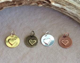 "Heart Charm - Little Heart Charm - Small Heart Charm - Small Circle Charm - Stamped Heart Charm - Gold, Silver, Antique Gold, Copper - 1/2"""