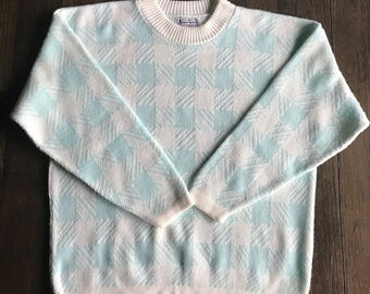 Vintage Spring Hipster Sweater, 1980s Pullover Oversized Sweater, Blue White Check Sweater, Pastel 80s Sweater, Size Large, Made in USA