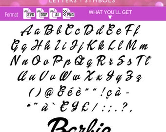 barbie font svg barbie alphabet svg doll dolly cutting files for vinyl cutter heat press transfer cameo cricutsilhouette 120