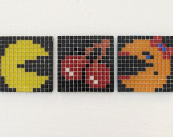 Original Pacman mosaic wall art; Pacman; set of 3; vintage video game; glass mosaic; pixel wall art.