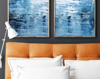 Set of 2 prints, Large Acrylic Prints of Abstract Painting Giclee of Original Art, Dark Blue Seascape, Navy Indigo Minimalist Reproduction