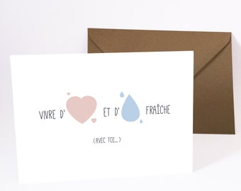 Greeting card, card, love postcard, gift, quote happiness card, made in france, humor, typography.