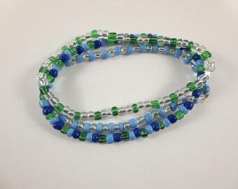 Green and Blue Bracelet / Stretch Bracelet / Beaded Bracelet / Stackable Bracelet / Bracelet Set / Green Stretch Bracelet / Blue Bracelet