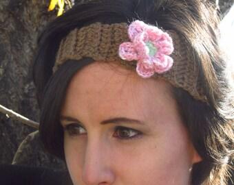 Brown crochet headband/ flower headband/ pink flower/ tan adjustable headband/ hair accessory
