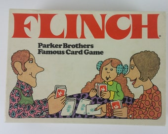 Flinch Famous Card Game - Very Good Condition Vintage Parker Brothers 1976 Board Game - 150 Cards for 5 Unique Family Games