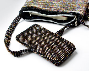 MADE TO ORDER Custom made beaded iphone bag Crochet phone sleeve Phone case Black iridescent Iphone bag White mother of pearl phone cover