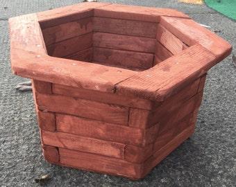 Large wooden plant pot
