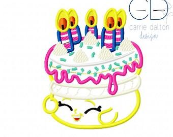 Birthday Cake Applique Design, Birthday Cake Embroidery Design, Wishes Applique Design, Wishes Embroidery Design, Shopkins Embroidery Design