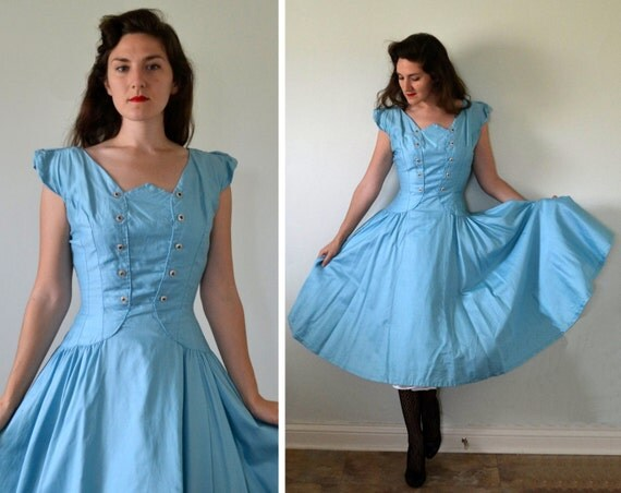 Cloudless Sky Dress | vintage 50's blue party dress | corset details