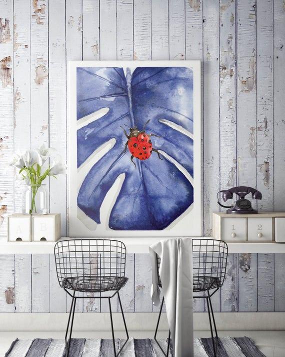 Monstera Ladybug Poster | Wall art | Printable poster | Wall decor | Art Prints | Nursery art | Watercolor art | Artwork | Baby shower gift
