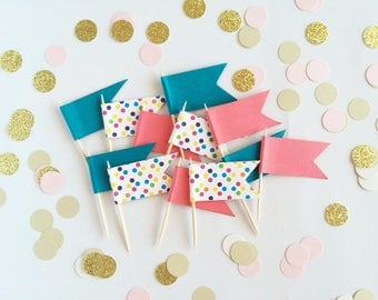 Cupcake Toppers - Cupcake Flags- Party Cupcakes - Birthday Toppers - Polka Dot Blue Pink