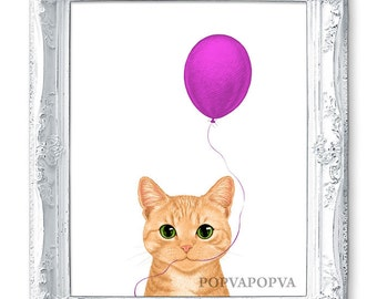 Baby Room Prints for Kids Room Prints for Nursery Prints, Children Room Prints, Boy Room Prints, Girls Room Prints, Cat Print, Pink Balloon