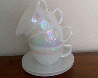 20% off Beautiful Carnivale Depression Milk Glass Tea Set Sugar and Cream Set