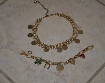 20% off Set of Gold Tone Shamrock Clover Horseshoe Heart Round Charm Bracelet and Necklace