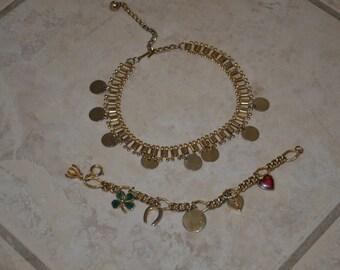 Set of Gold Tone Shamrock Clover Horseshoe Heart Round Charm Bracelet and Necklace