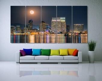 Large San Diego Canvas Art, Night San Diego Wall Art, San Diego Canvas Print, San Diego City Art, Night Cityscape, City Skyline Decor LC019