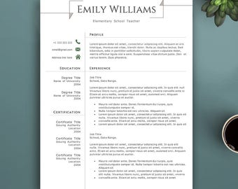 Professional Resume Template for Pages & MS Word. Complete 1,2,3 Pages Template | Teacher Resume Template. Creative Resume Template