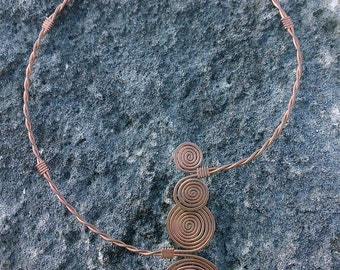 Necklace handcrafted of copper adjustable
