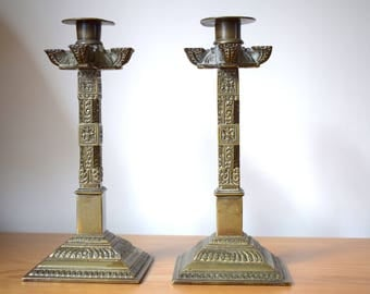 Antique, Mexican, Bronze, Candle holder,candle sticks,Pair,vintage,pair of candlesticks,boho chic,candles,unique,unusual gifts,unknown,