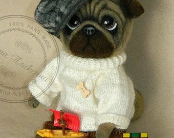 Toto the Pug. Pug of wool. Toys of wool