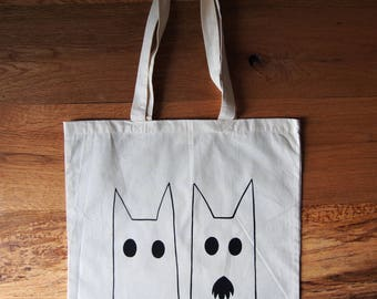 Hand Printed Canvas Tote Bag, Screen Printed, Cotton Market Bag, Long Handles, Cat print
