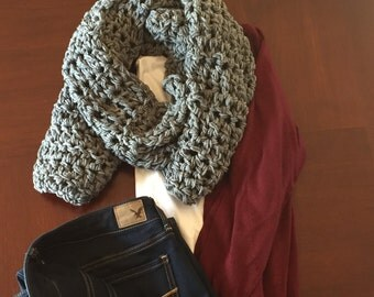 Soft Gray Knit Scarf