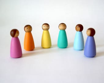 Peg Dolls, Set of 6 Small Rainbow, Peg Dolls, Peg People, Wooden peg dolls, Wooden dolls, Montessori, Montessori toys, Waldorf Toys
