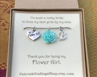 Thank you for being my Flower Girl Necklace - C216 - Flower Girl Jewelry - Gift for Flower Girl - Personalized Flower Girl Necklace - Bridal