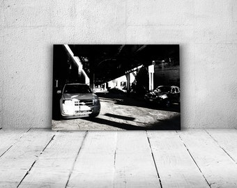 Black and white photo of Elevated Train Tracks - Chicago