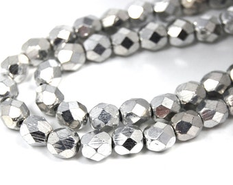 50/pc Silver Czech 6mm Fire-polished Faceted Round Beads