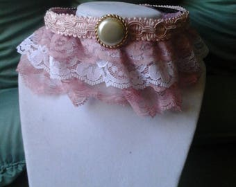 Victorian-look Lace Choker with Cameo Style Pendant, Pink Lace Victorian Steampunk Style Choker