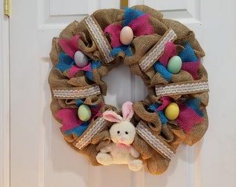 Burlap Easter Spring Wreath