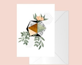 Greeting card with an illustration of geometrical shape, eucalyptus branch and flower / botanical / print art / abstract / minimalist