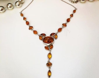 Baltic Amber Necklace, Amber chain, Amber & Silver necklace, Silver Amber flowers, Amber Jewellery UK, Amber jewelry, honey amber, romantic
