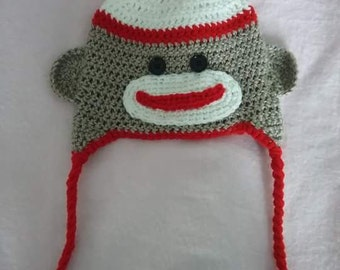 Crochet children's toy monkey hat
