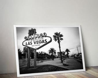 Welcome to Las Vegas print, Vegas sign wall art poster, Vegas Strip skyline gift, Nevada photo, posters