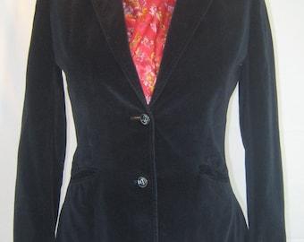 Vintage Present Co. black cotton velvet blazer, size 11/12