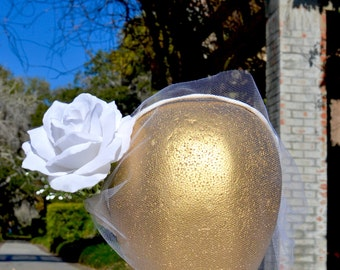 "The ""Myrtle"" floral halo crown // vintage style, gatsby, tulle veil, bridal veil, bridal headpiece, wedding accessory, single rose headpiece"