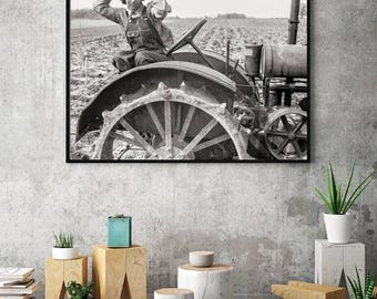 Farmhouse Art Photo, Modern Farm House Decor, Rustic Decor, Farm Photo, Plow Print, Photography Black and White Print Wall Decor